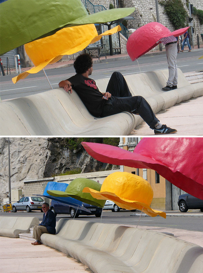 Benches With Big Hats, Marseille, France