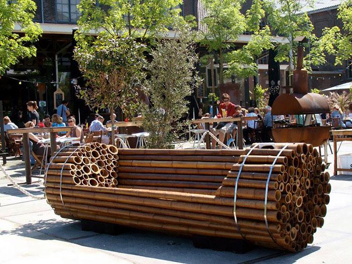 Modern Bamboo Bench In New York