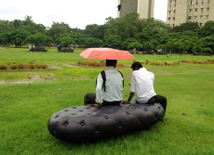 Water Bench Collects And Stores Rainwater