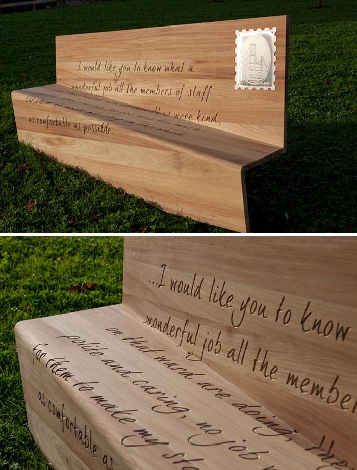 Letter Bench, Frenchay Hospital, Bristol, England