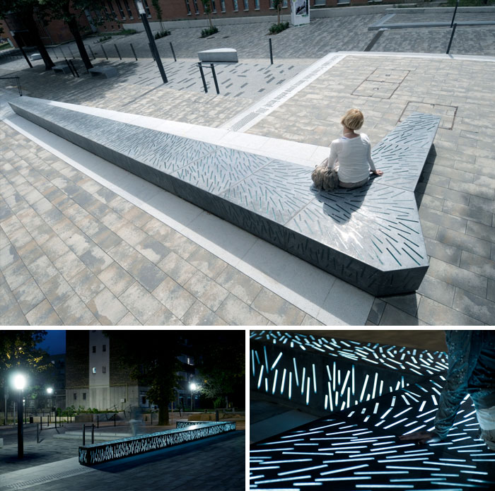 Glassconcrete Bench By Zoltan Bencze & Szovetseg'39, Pecs, Hungary