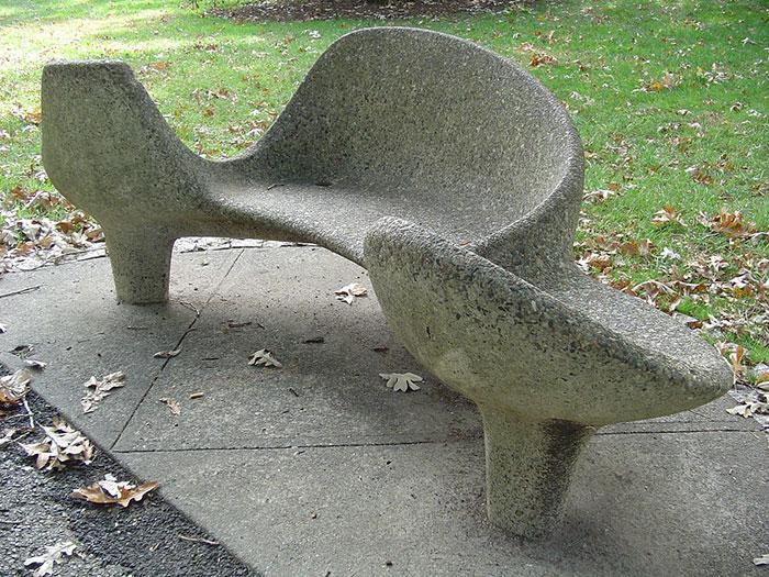 Concrete Bench At New York Botanical Garden, Bronx