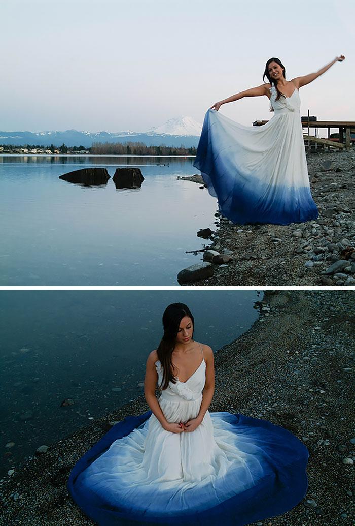 Dip Dye свадебное платье