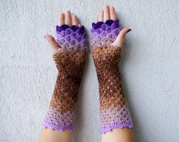 dragon gloves free crochet pattern psychedelic doilies delectable