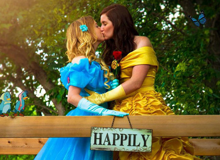 This Couple's Disney Engagement Photoshoot Dressed As Belle & Cinderella Is A Modern Fairytale