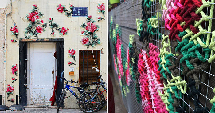 Cross-Stitch Street Art In Spain by Raquel Rodrigo