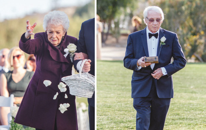 This Grandma And Grandpa Were The Flower Girl And The Ring Bearer At Their Grandchildren's Wedding