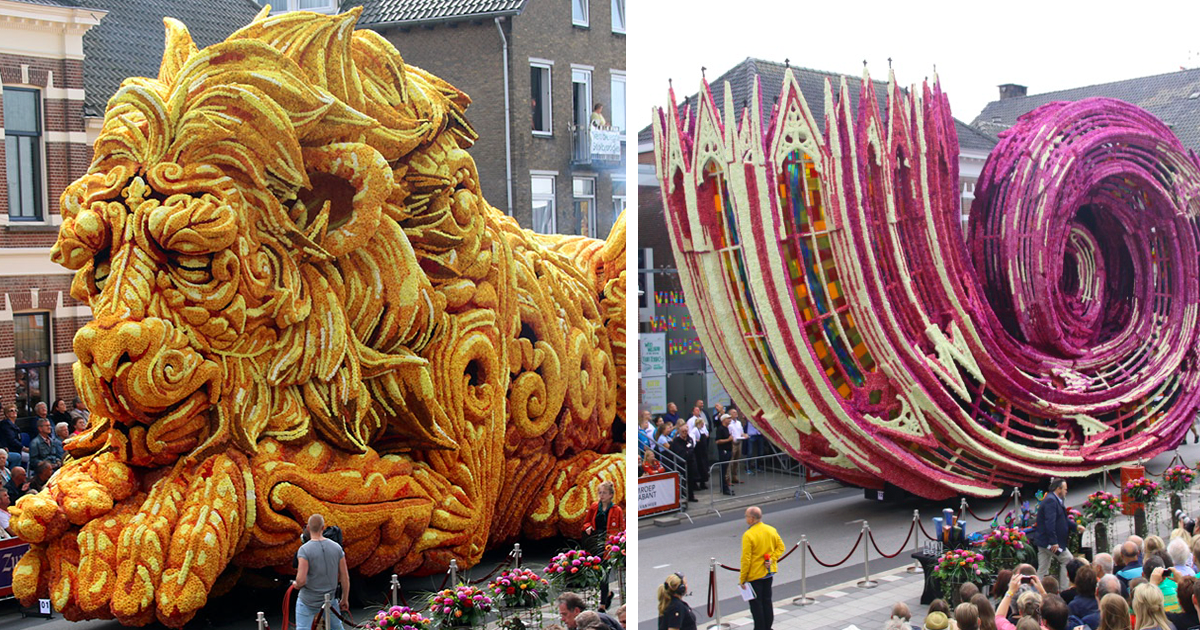 10 Giant Flower Sculptures Made From Dahlias At World's Largest Flower Parade In The Netherlands