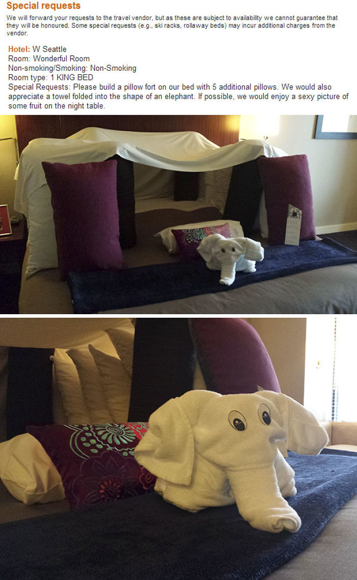 Asked Hotel To Build Pillow Fort Upon Check-In. Hotel Delivers