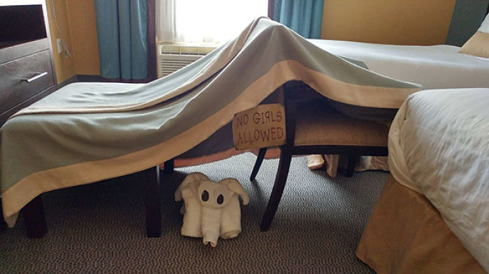 Asked For A Blanket Fort, No Girls Sign And A Towel Elephant