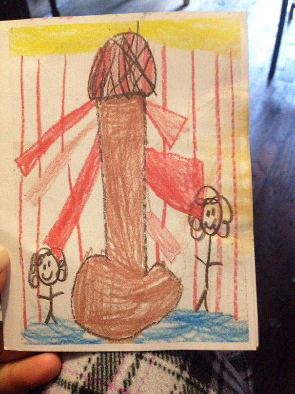 I Worked A Kindergarten Graduation Service A Couple Of Years Ago Where The Kids Drew Their Own Programs. I Had To Save This One, Obviously, It's A Lighthouse