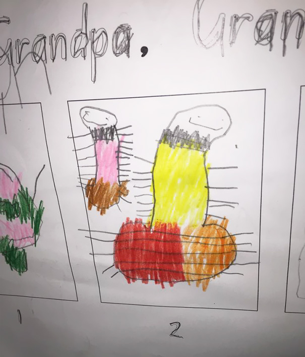 My Son Drew This Last Year In The Kindergarden. It's Supposed To Be A Fish With Its Tail Out The Bottom There