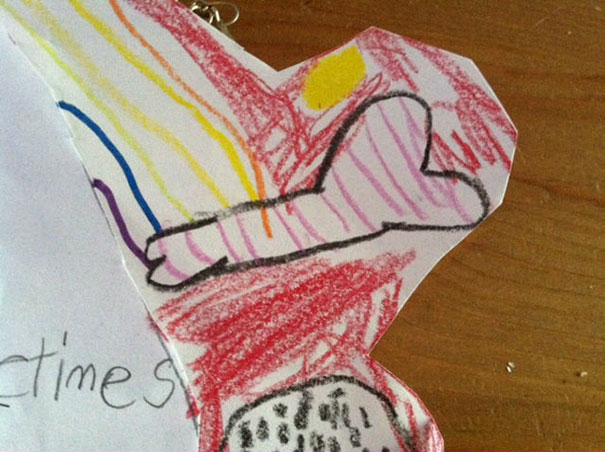"""I Teach 1st Grade: A Students Drawing Of A """"Dog Bone"""" With A Rainbow Coming Out Of It"""