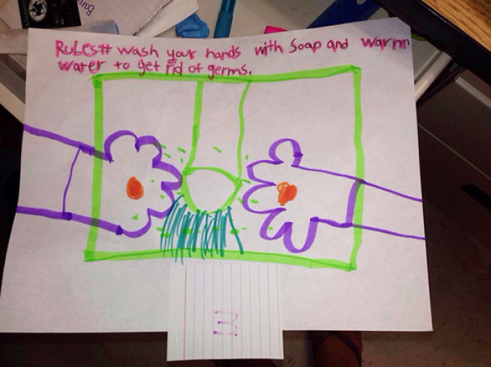 My 2nd Grade Teacher Friend Had A Class Assignment To Draw The Best Way To Prevent Germs. This Kid Did Not Fail To Disappoint