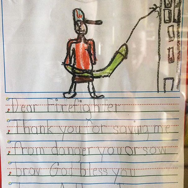 """My Uncle's A Firefighter. One Of The Kids They Rescued Drew Up A """"Thank You"""" Note"""