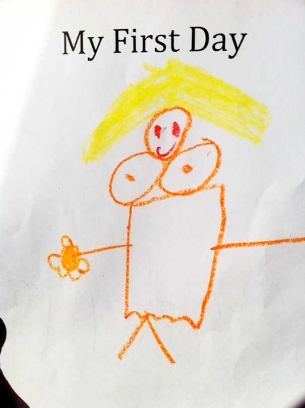 My Kid's Drawing About Her First Day Of Kindergarten: Her Teacher. It's Pretty Accurate