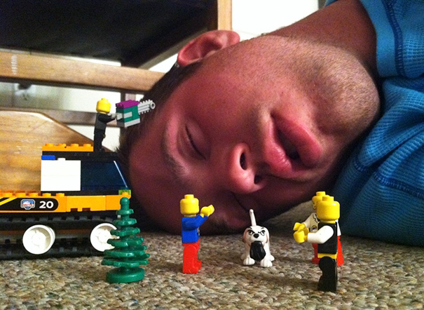 Friend Passed Out Last Night At Our Little Party. So, We Made Up Some Dialogue Using Lego Men About A Plot To Dispose Of His Body