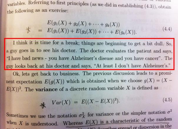 Statistics Textbook Making Fun Of A Crippling, Destructive Disease