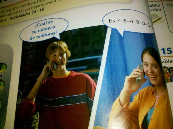 So In My Spanish Textbook This Kid Calls A Girl To Ask Her What Her Phone Number Is