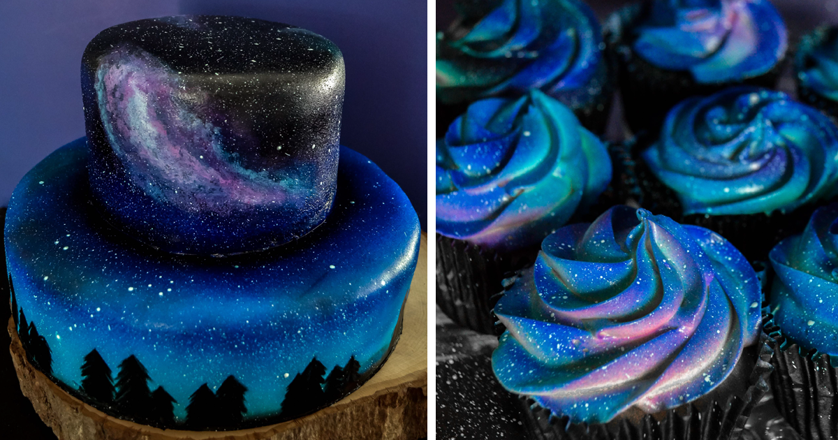 galaxy themed wedding cake i was asked to make a galaxy themed cake and cupcakes for 14630