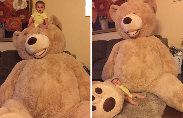 Grandpa Gets Granddaughter Ridiculously Huge Teddy Bear, And The Internet Just Cannot Bear It