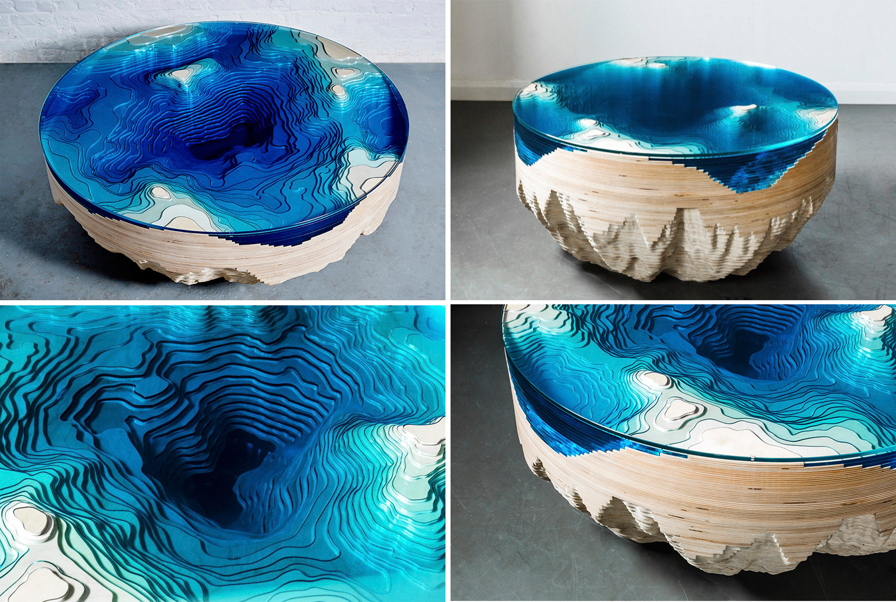 This Sea-Inspired Multilayered Table Lets You Look Into The Depths Of The Ocean
