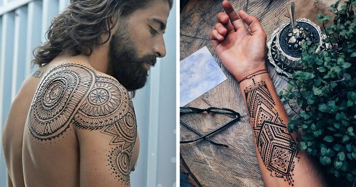 Menna Trend Sees Men Wearing Intricate Henna Tattoos Bored Panda
