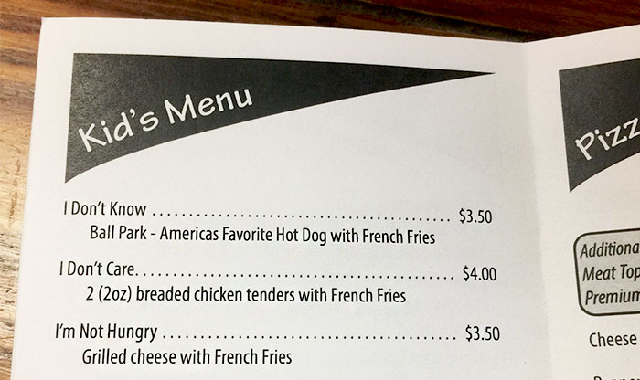 Restaurant Makes Genius Menu To Deal With Difficult Kids