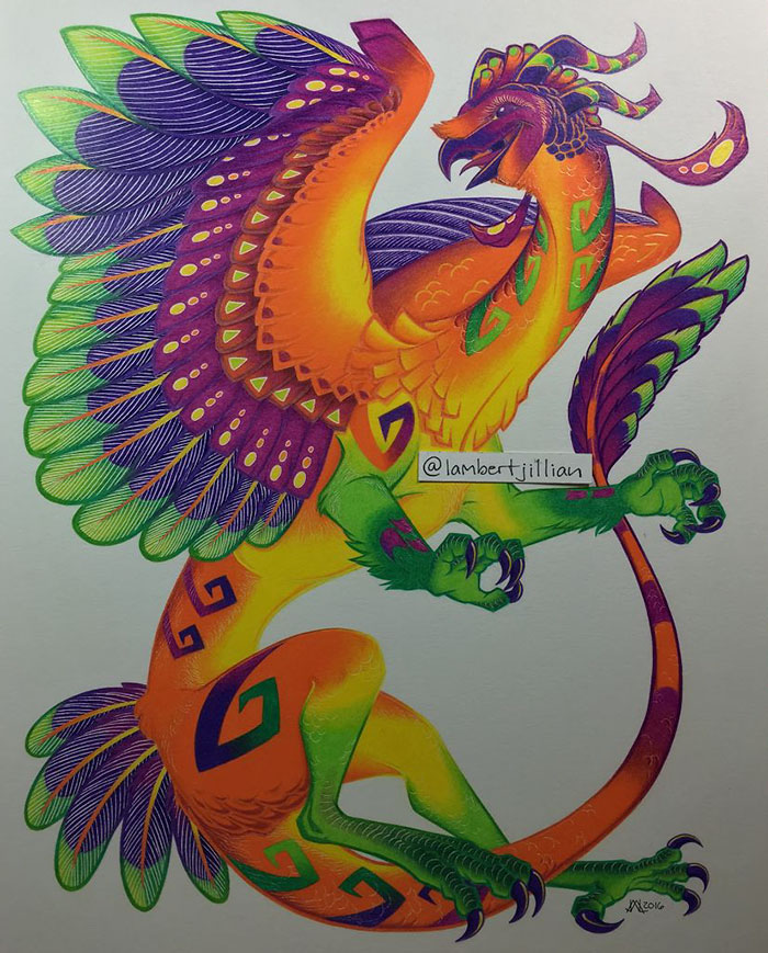 I Spent 32 Hours Creating A Colored Pencil Barn Owl Dragon Inspired By Oaxacan Woodcarvings