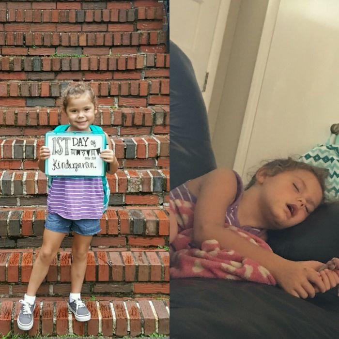 Веселі фотографії дітей до і після їх першого дня в школі - 6