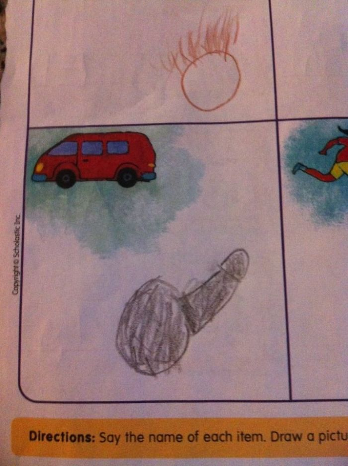 My Son's Homework. Say The Name Of Each Item Then Draw A Picture That Rhymes (with Dick)