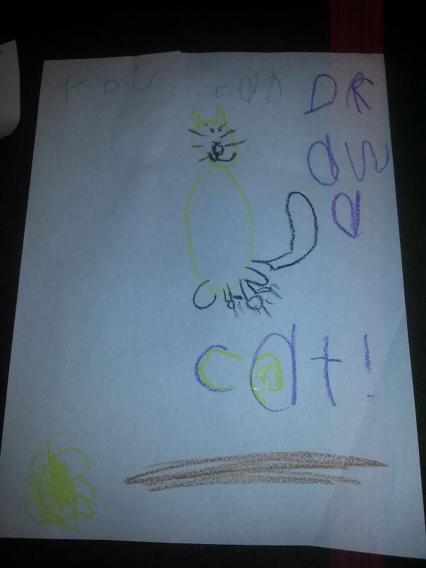 My Daughter Drew This Picture Of A Cat In Kindergarten!