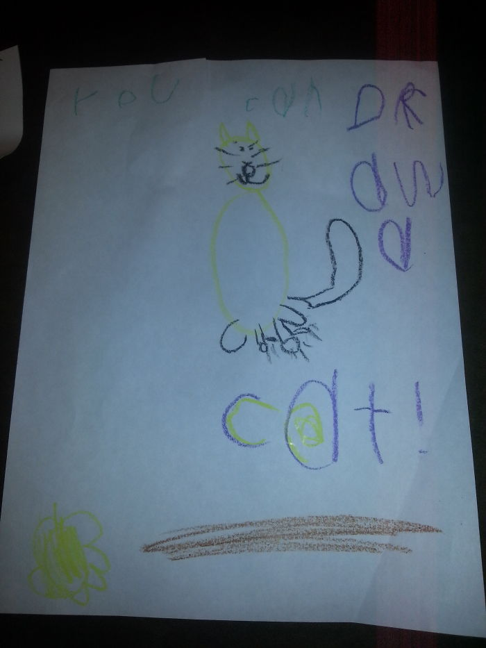 My Daughter Drew This Picture Of A Cat In Kindergarten!