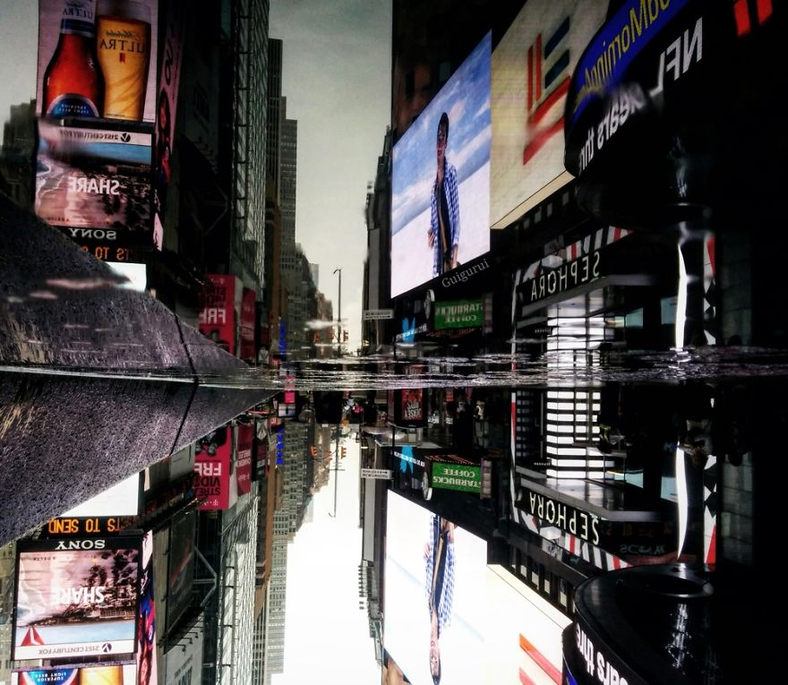 The Parallel Worlds Of Puddles In New York City Veriy - Photographer captures the amazing reflections of puddles in new yorks streets