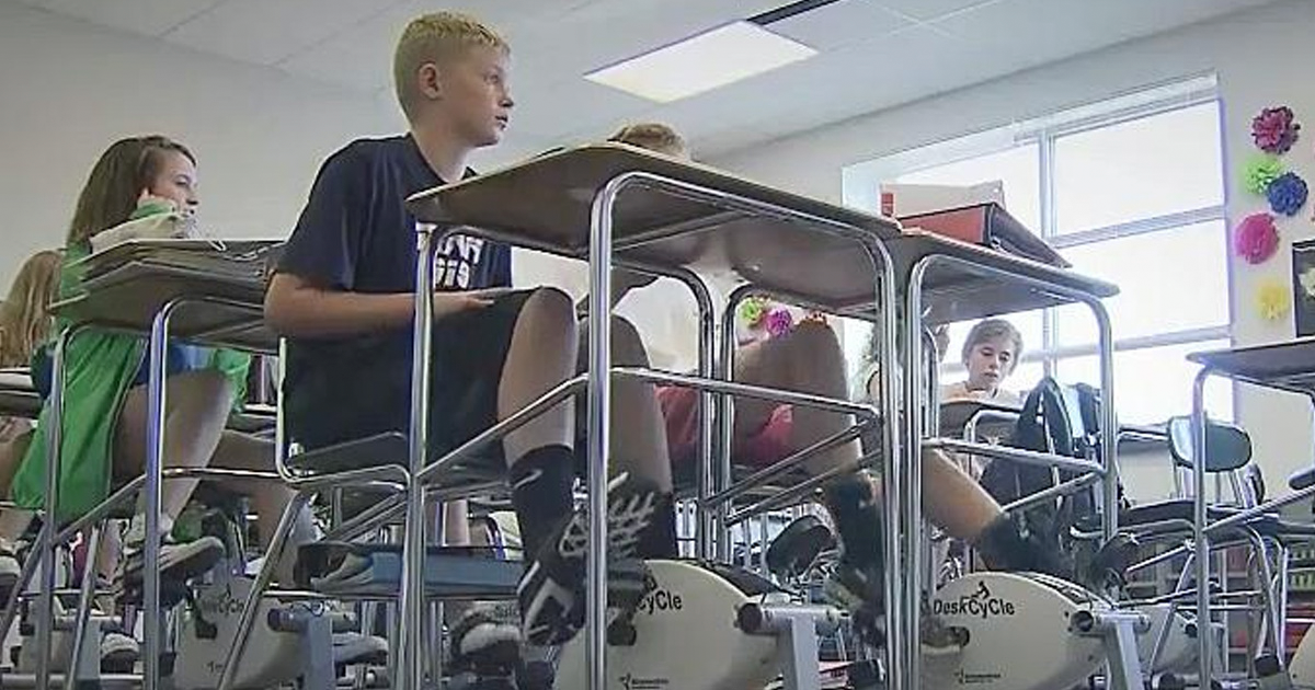 Clever Teacher Puts Cycling Machines Under Her Students' Desks To Get Them To Focus