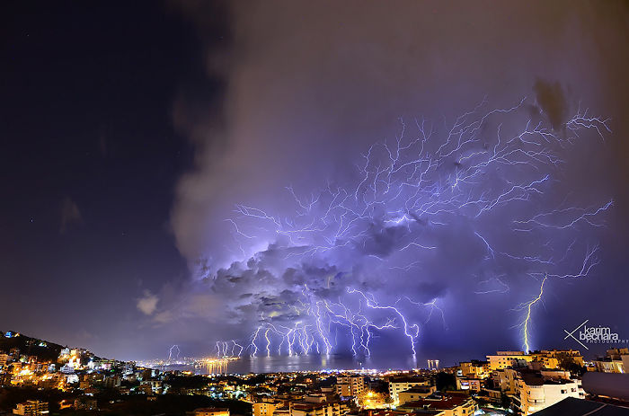 Lightning Bolts Striking Beirut, Lebanon
