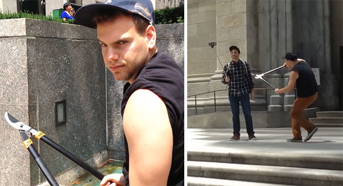 This Guy Is Cutting Tourists' Selfie Sticks In Half, And People Can't Decide If He's A Hero Or Villain