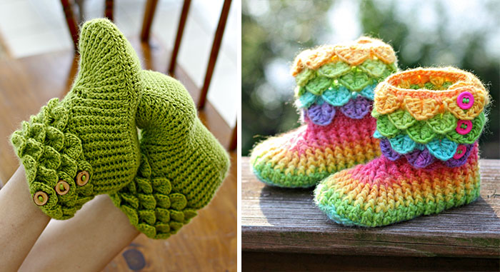 Dragon Slippers With Crochet Scales To Keep Your Toes Warm Because Winter Is Coming
