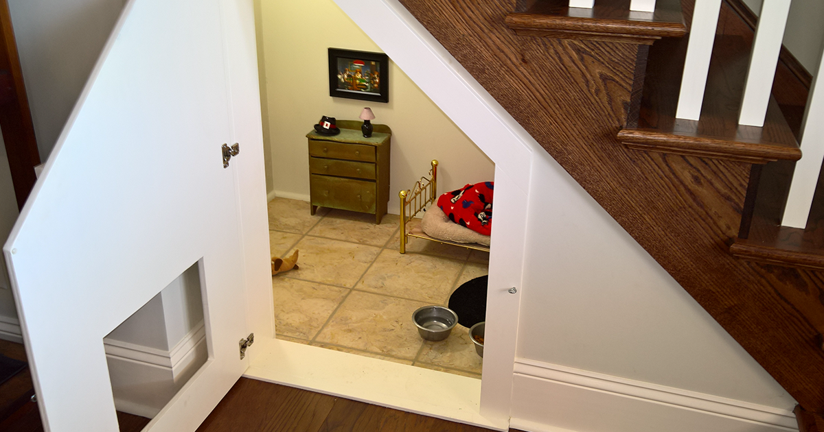 This woman built her dog a bedroom under the stairs and for Room design under stairs