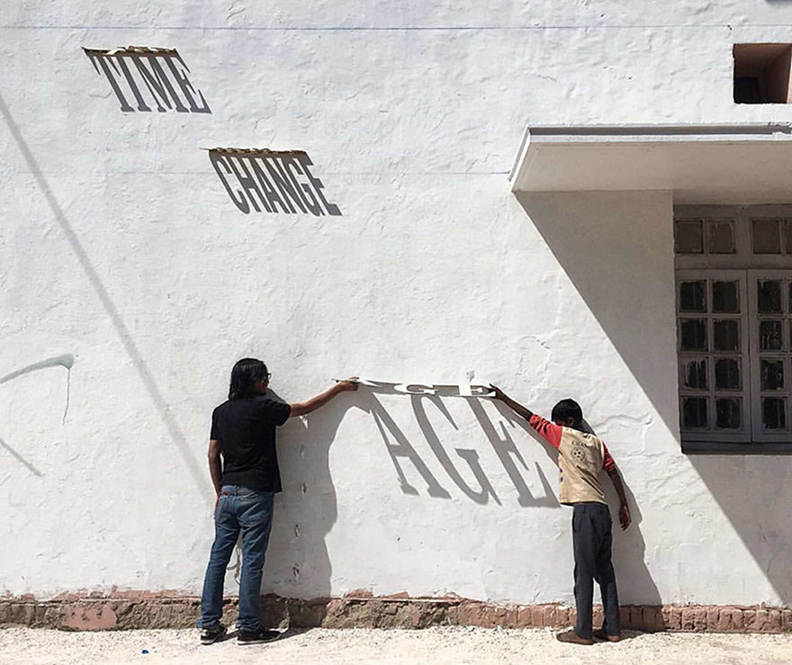 Typographic Shadow Graffiti