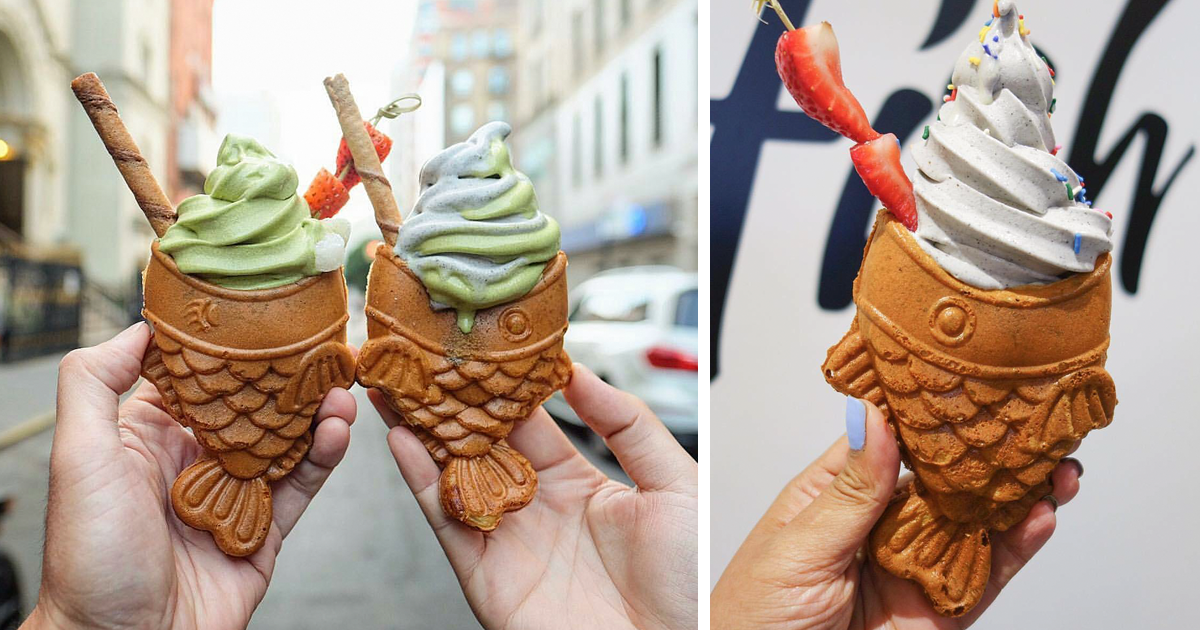 New yorkers are going crazy for these adorable fish ice for Fish shaped ice cream cone