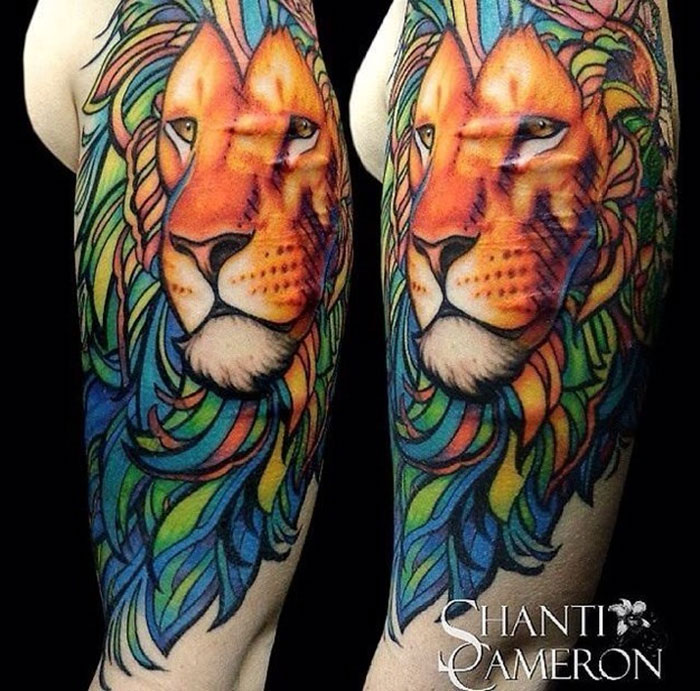 Colorful Lion Covering Scars From Self-Harm