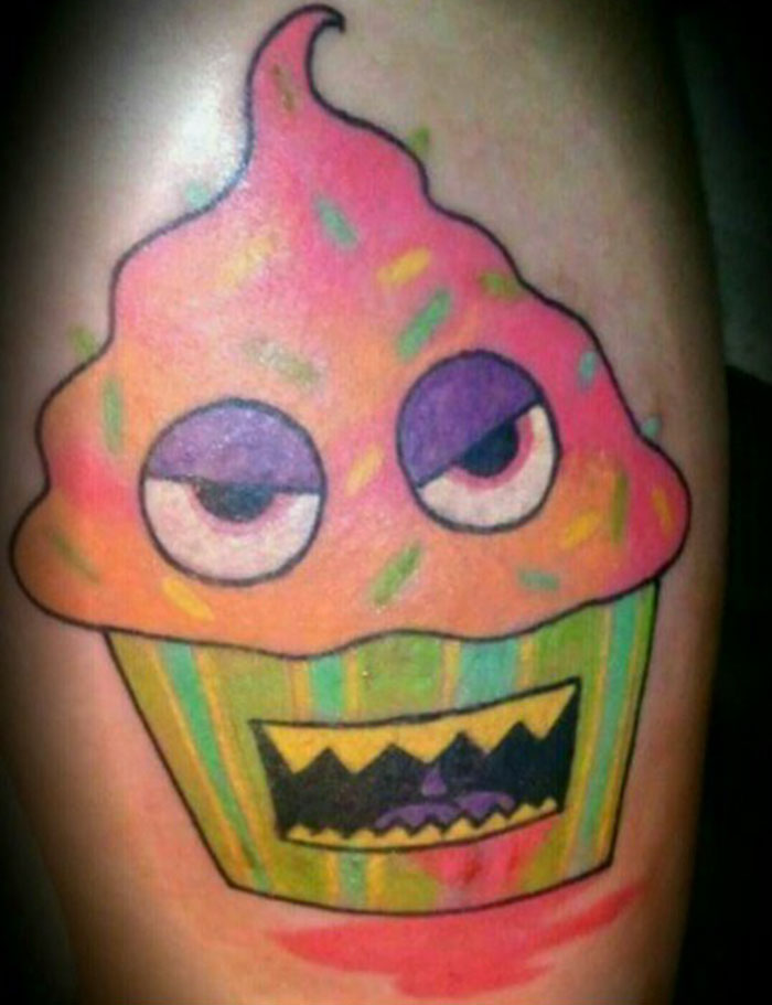 A Demon Cupcake Covering Cancer Treatment Scars