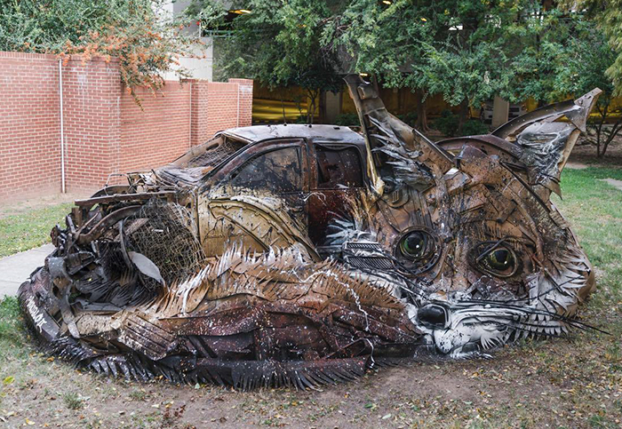 Artist Turns Trash Into Animals To Remind Us About Pollution