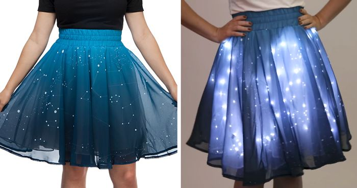 twinkling stars skirt.  has constellations printed in white on the blue tulle outer layer, and a place for LED lights to show through on the innter layer