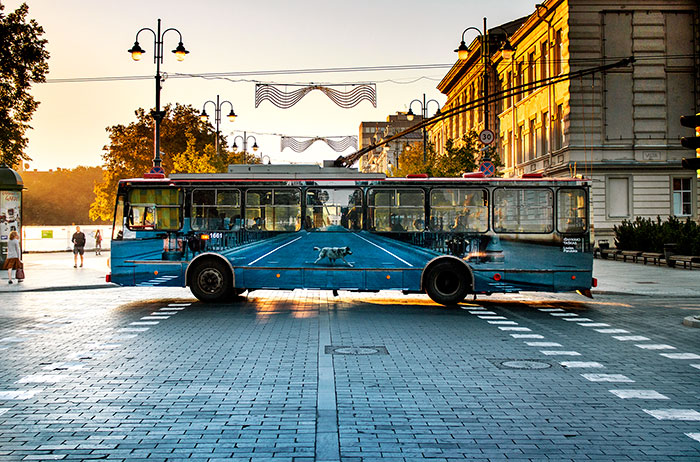 Street Artist Makes Trolleybus 'Disappear' In Vilnius