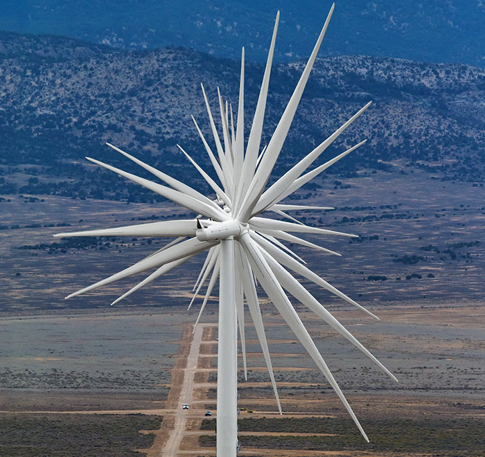 14 Wind Turbines Aligned In A Row In Nevada