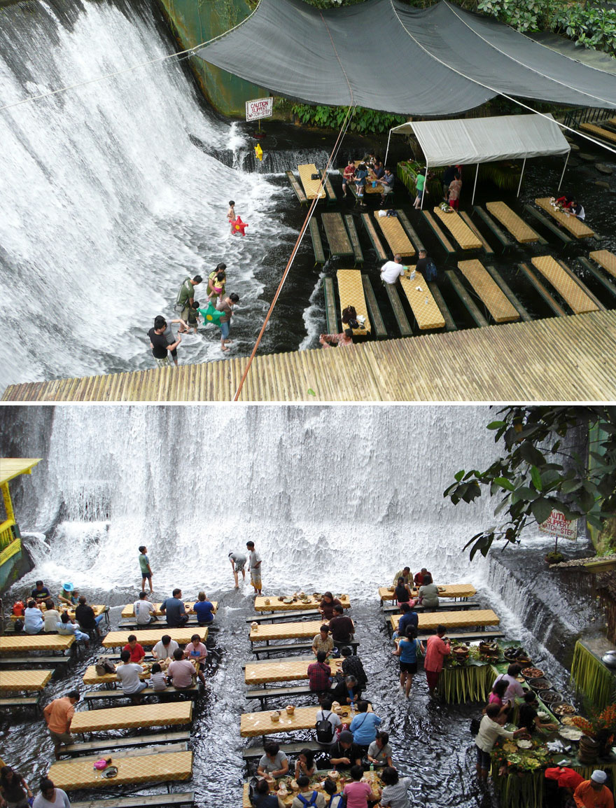 Dinner In The Middle Of A Waterfall, Labassin Waterfall Restaurant, Villa Escudero Resort, Philippines