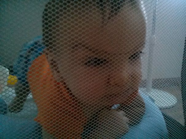 My Son Trying To Escape From The Baby Cage.