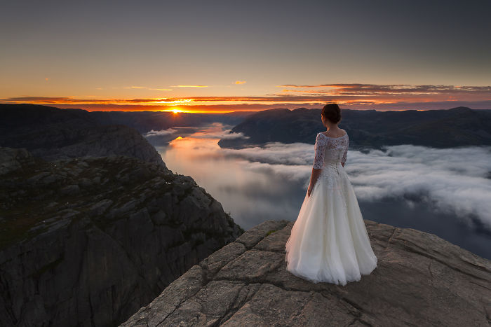 I Photographed My Wife In Her Wedding Dress During Our 45-Day Trip In The Most Beautiful Places In Norway